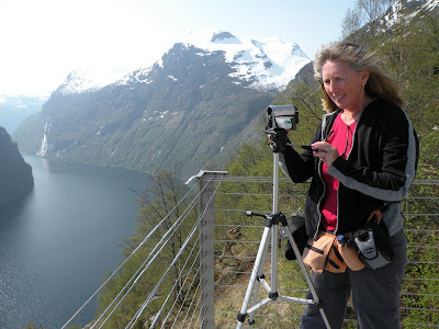Janie Robinson shooting web travel videos in Norway. Photograph by Janie Robinson, Travel Writer