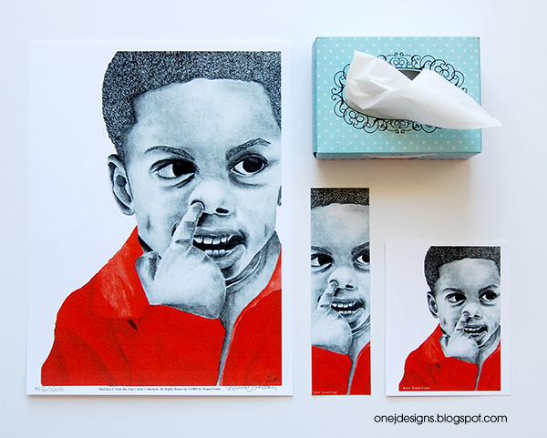 Red Boy 1 from The True Colors Collection by Noami Foster 9x12 print, bookmark notecard and box of tissue