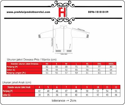 standar ukuran jaket