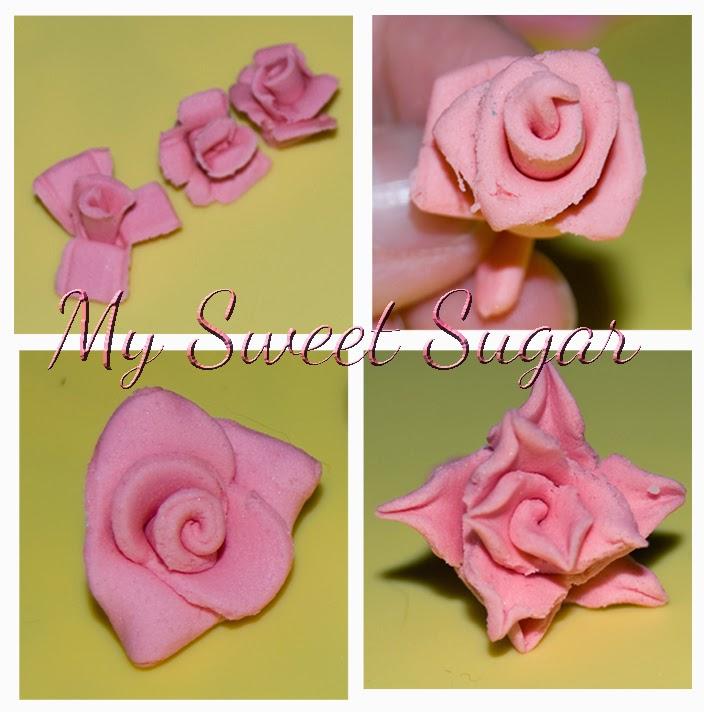 rose divertissement : fiori in pasta di zucchero con attrezzi vari