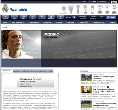 Modric profile on the Real Madrid website