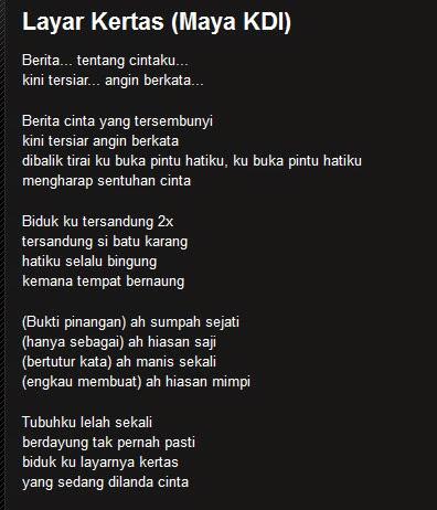 """Lyrik/Lirik Lagu Melayu """"Layar Kertas"""