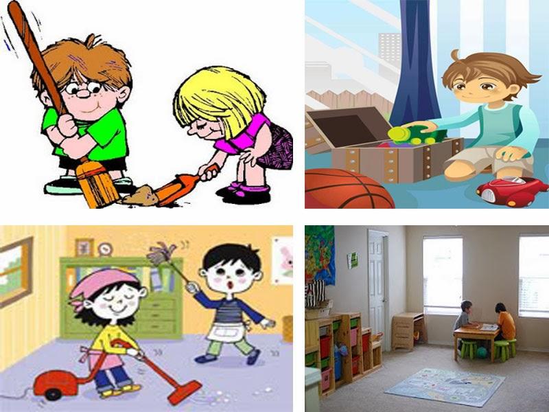 Kids picking up toys clip art illustration of kid boy - The clean bedroom ...