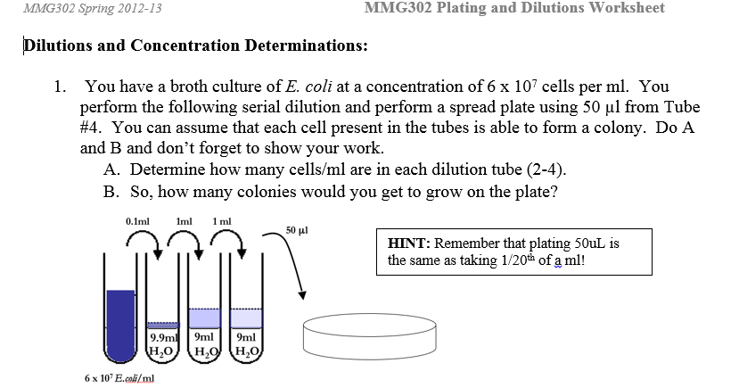 Mike Manzella - Teacher in Training: MMG 302 - Dilutions Worksheet