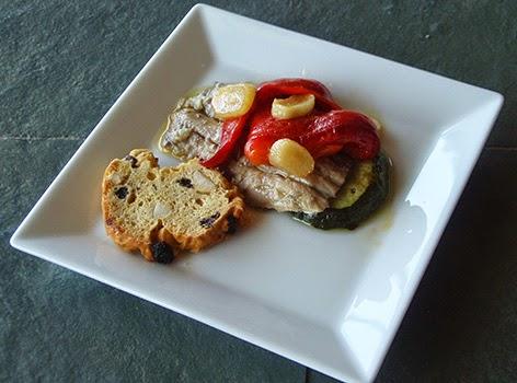 Pincho de sardina con calabacín y pimiento del piquillo