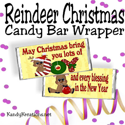 Give everyone on your Christmas list a fun Christmas card wrapped around a Hershey candy bar.  You'll be the star of Christmas with this beautiful Reindeer Christmas candy bar wrapper free printable.