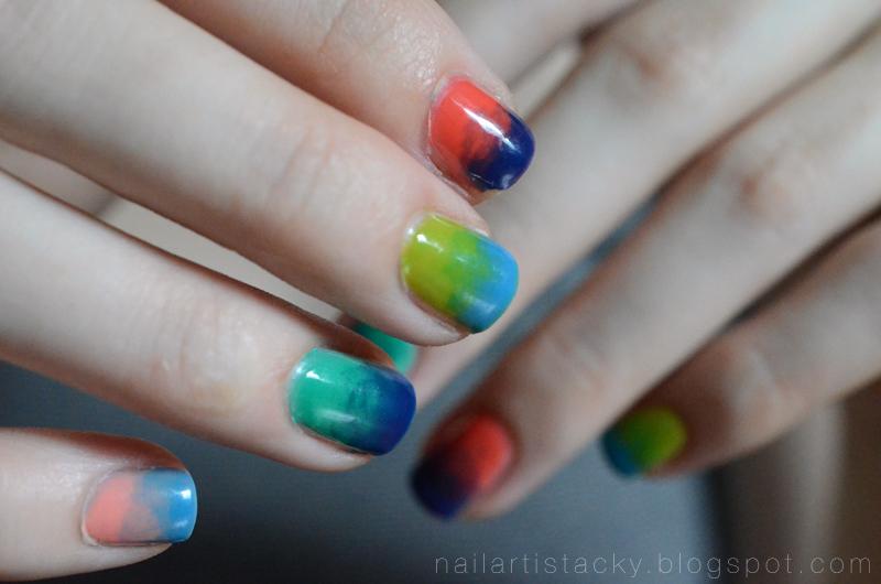 Tie Dye Nails - American Apparel Sheer Nail Polish