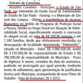 convênio entre a o governo do Estado de São paulo e a Prefeitura de São José dos Campos