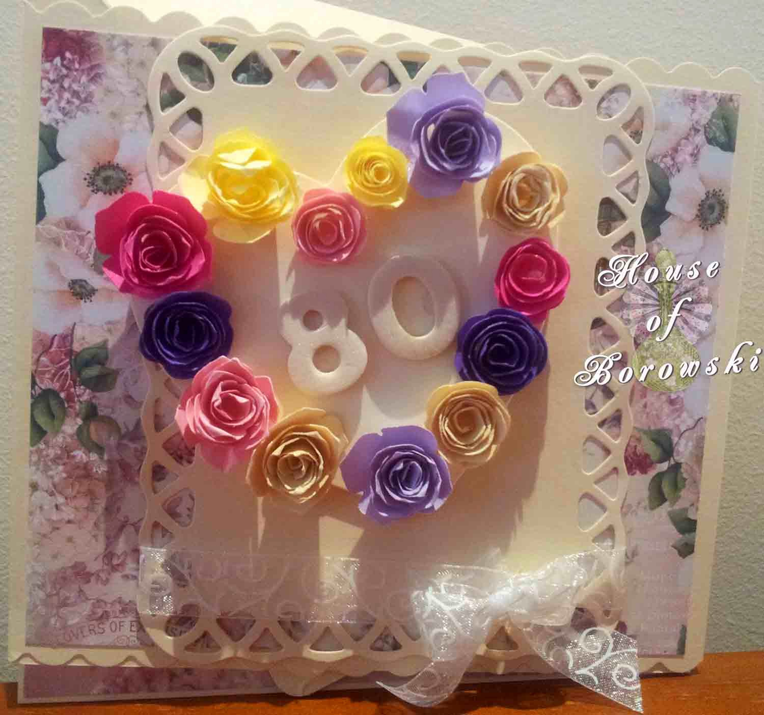 HOB, twisted easel card, megs garden, spellbinders lattice rectangles, garden favourites quilled creations,kaszazz vine edge embossing folder.