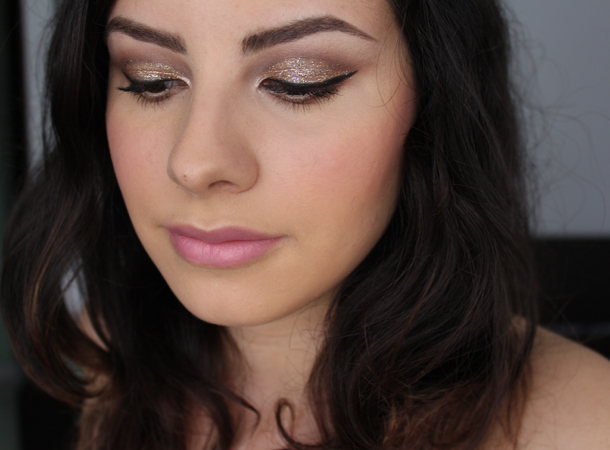 gold glitter makeup look wetnwild brass lit cosmetics champagne wishes