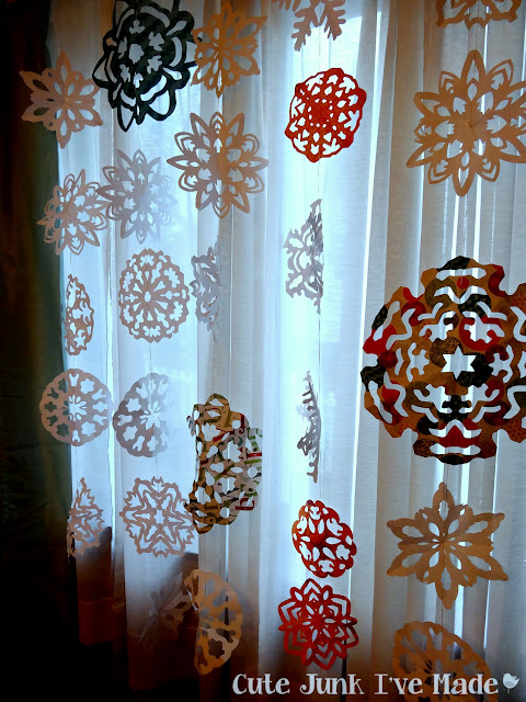Paper Snowflake Curtain Tutorial - Finished Product Entire Window