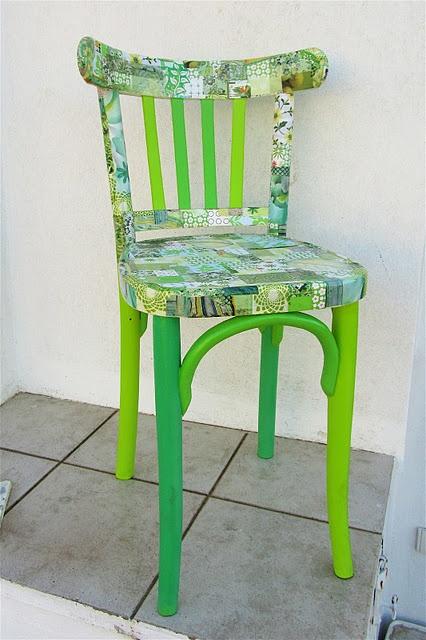 krzesło decoupage zielone krzesło
