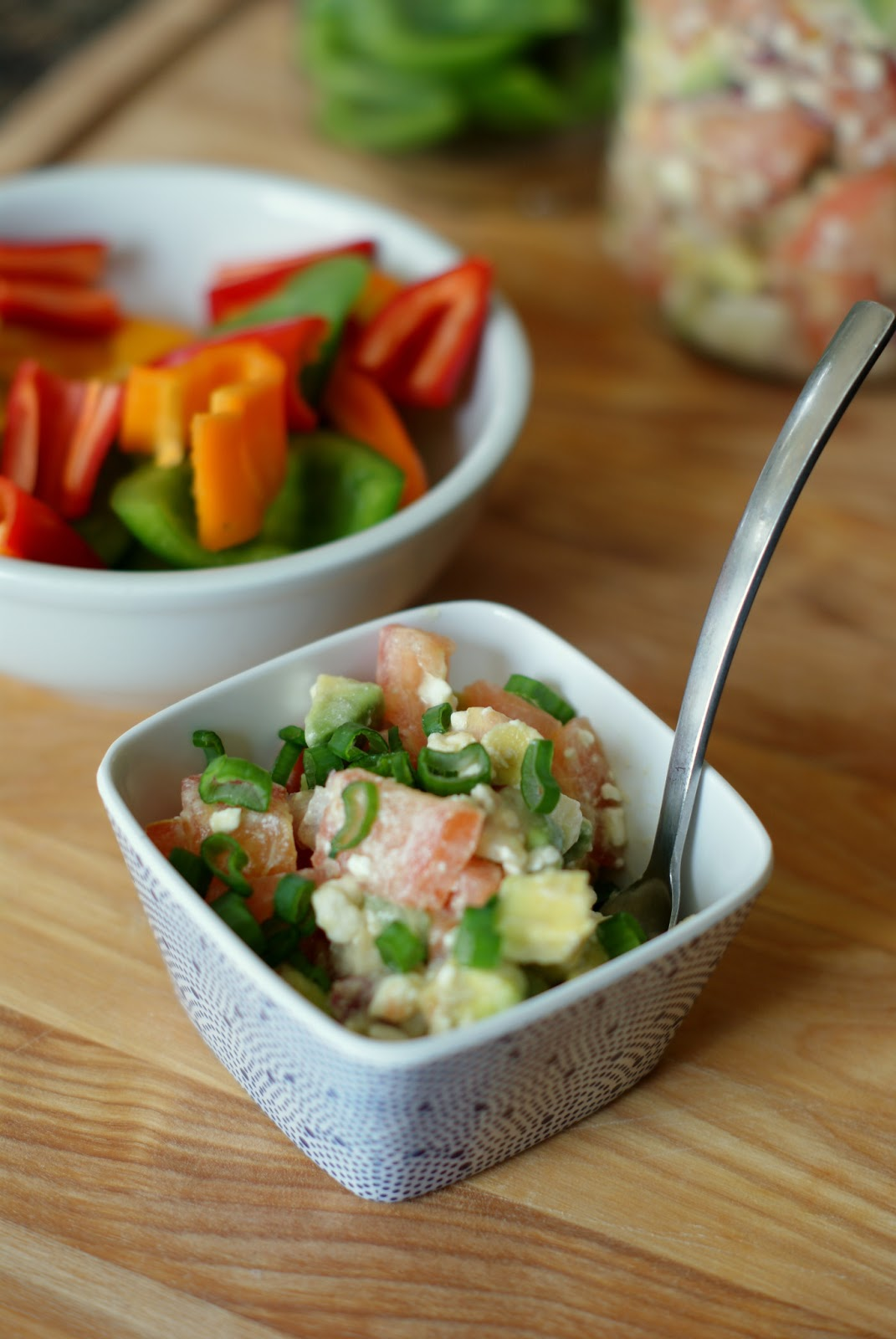 top with green onion slices serve with bell pepper slices