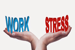Illustration of hands, with one holding the word stress and the other holding the word work.