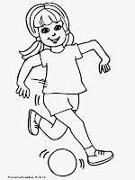 Gambar Anak Perempuan Bermain Bola Untuk Diwarnai