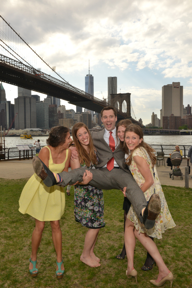 Bridesmaids Lift the Groom - Brooklyn Bridge Park
