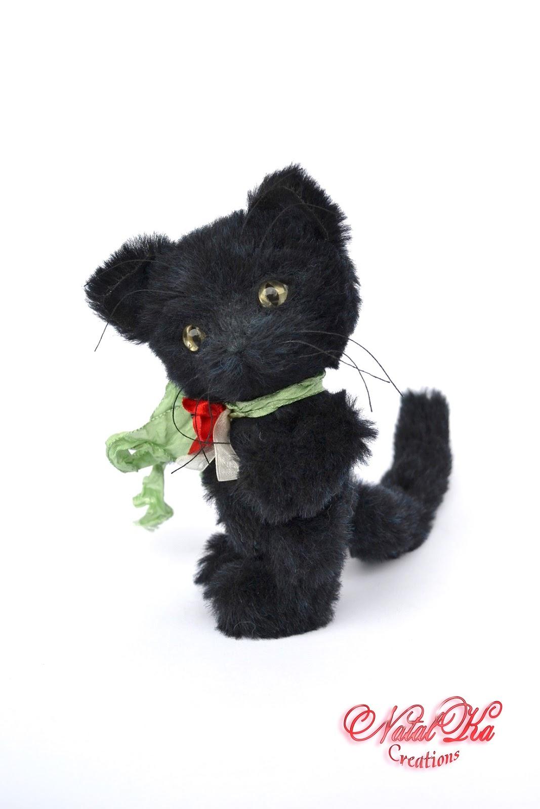 Авторский черный кот тедди, единственный экземпляр, ручная работа, artist teddy cat, jointed teddy, black cat, handmade teddy, Künstlerteddy, Künstler Kater, Mohair, NatalKa Creations