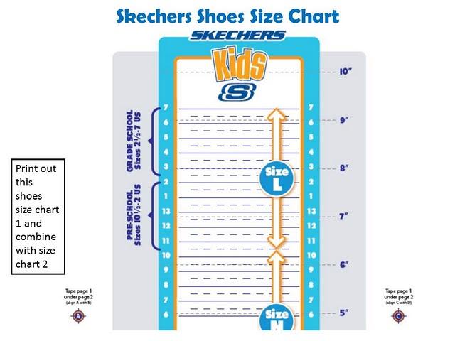 Sketcher Shoe Chart Kids