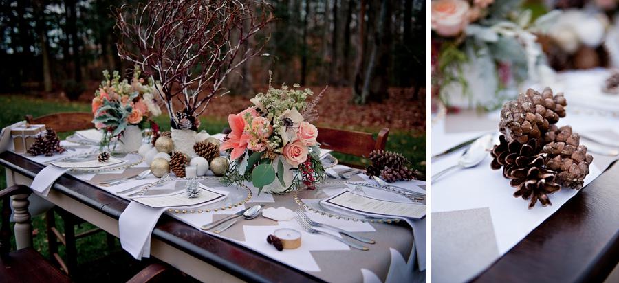 pine cones and ornaments tablescape