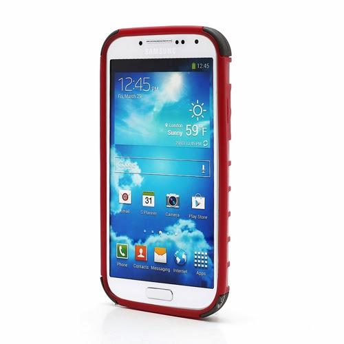 Tough Rugged TPU & PC Stand Hybrid Case for Samsung Galaxy S IV S4 i9500 i9502 i9505 - Black / Red