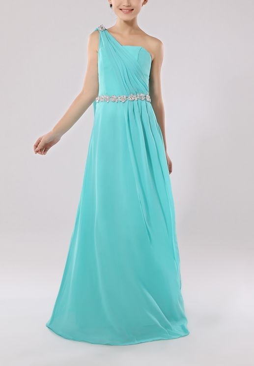 Chiffon One-shoulder A-Line Long Junior Bridesmaid Dress