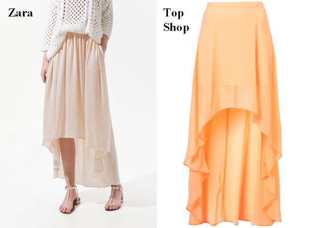 Falda asimétricas o tail hem rosa Zara o falda asimétrica o tail hem naranja Top Shop