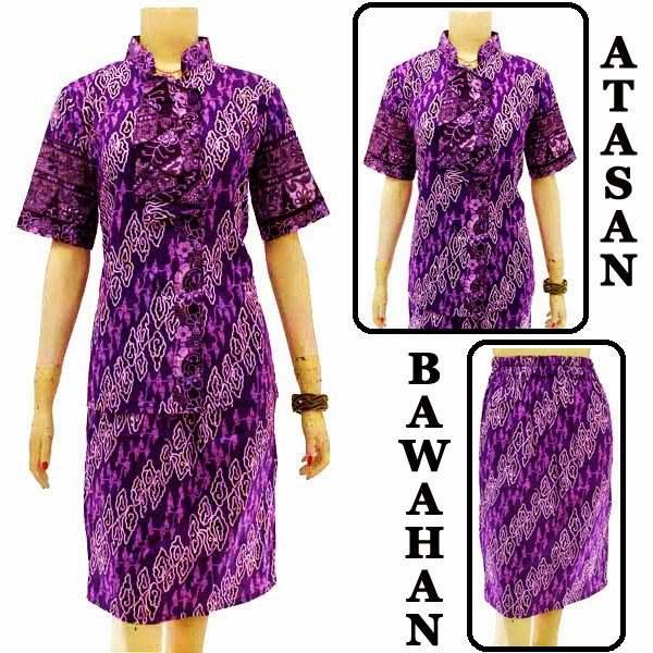 DB3756 Model Baju Dress Batik Modern Terbaru 2014