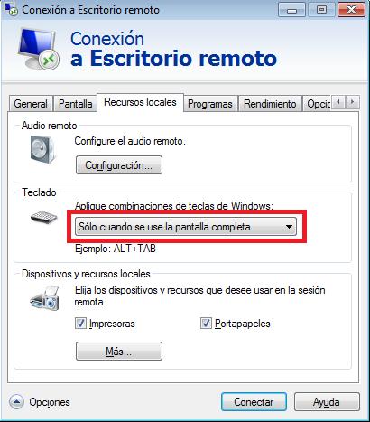 Windows: Usar combinaciones de teclas en una sesión RDP