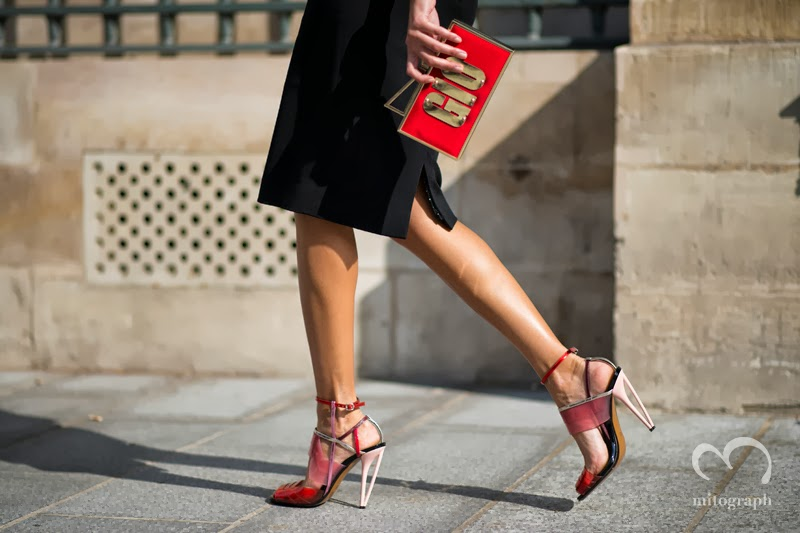 Giovanna Battaglia wearing 2014 Spring Summr collection FENDI shoes and Sara Battaglia Clutch Bag at Paris Fashion Week Street Style by Shimpei Mito