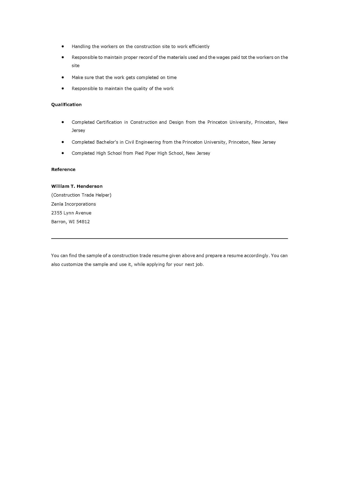 sample construction resume sample construction resume 1912