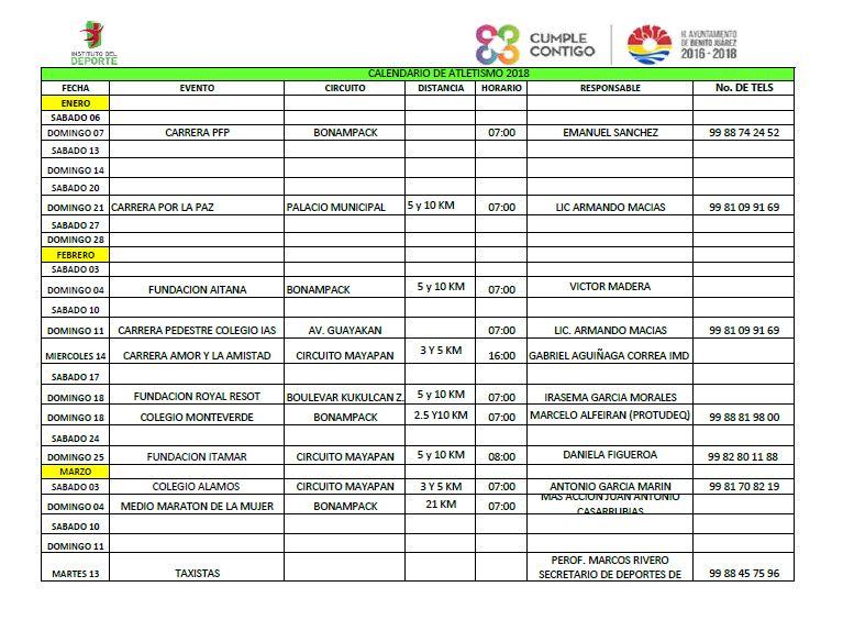 Calendario de Carreras 2018