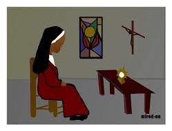 Mª Celeste Crostarosa adorando al Señor