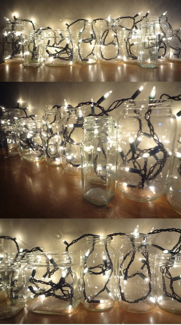 Holiday lights in glass jars, a home decor DIY