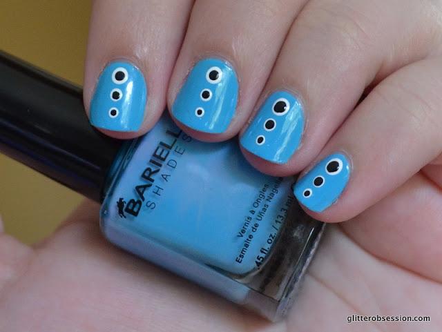 Barielle Magna Cum Laude Turquoise dots nail art