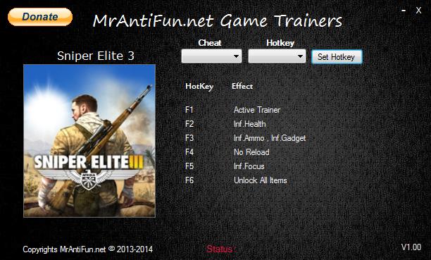 Sniper Elite 3 V1.03 Trainer +6 MrAntiFun