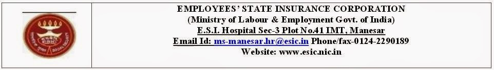 ESIC Recruitment 2015 Application Form