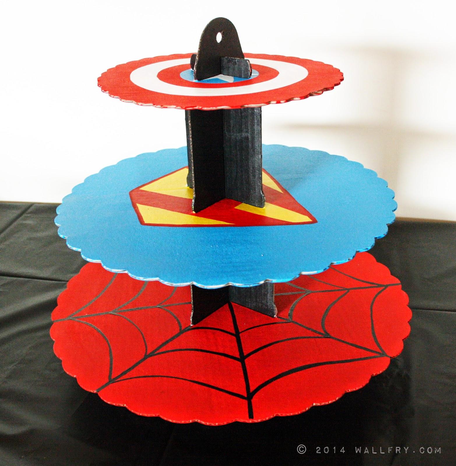 Wallfry wall art for small fry superhero cupcake stand diy
