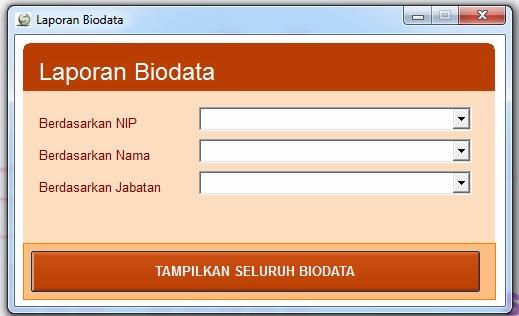 Form laporan Biodata