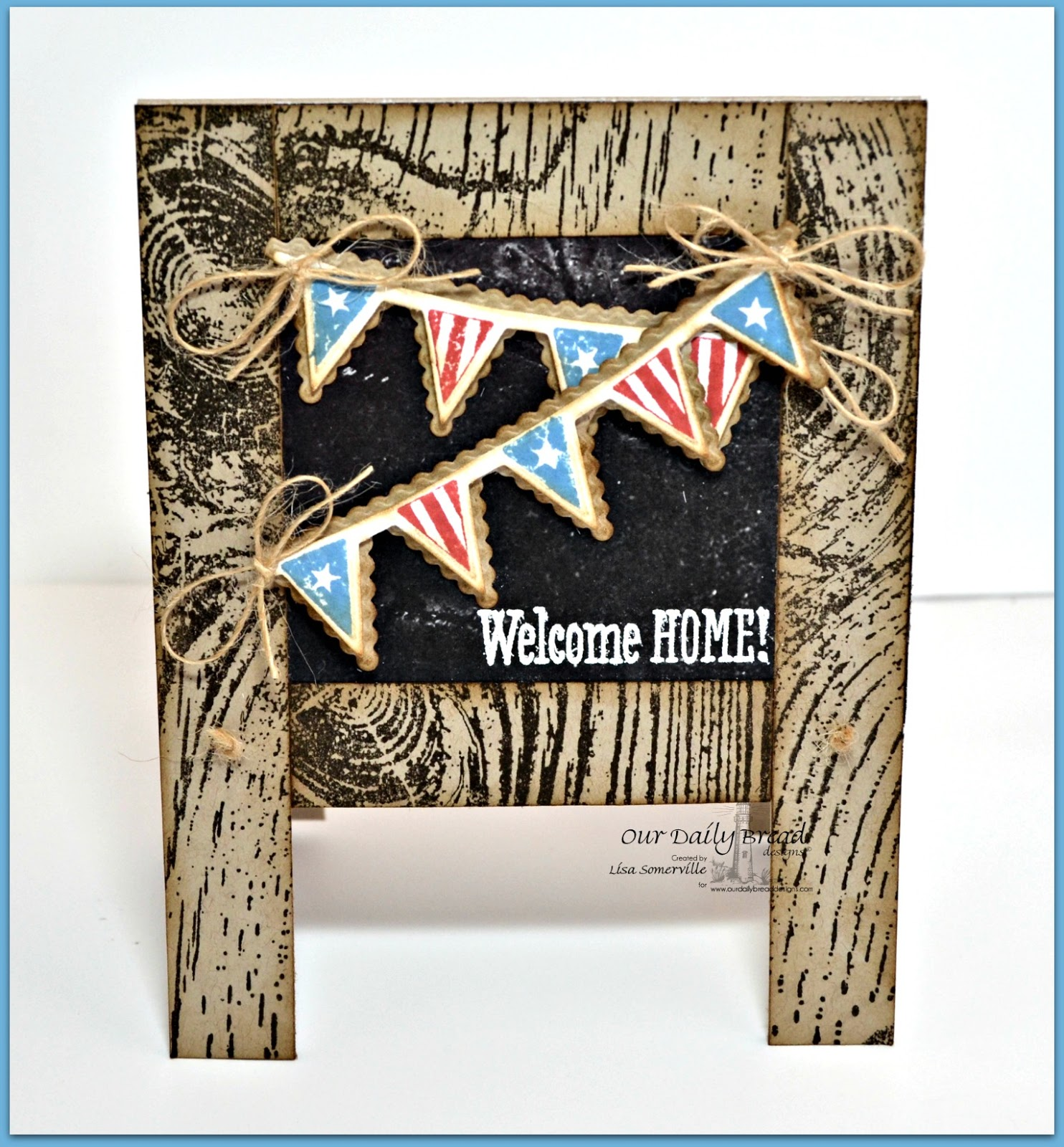 Stamps - Our Daily Bread Designs Patriotic Pennants, Wood Background, ODBD Chalkboard Paper Collection, ODBD Custom Pennant Row Die