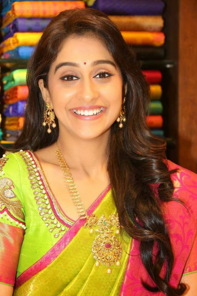 Regina Cassandra In Parrot Green Kanchivaram Saree