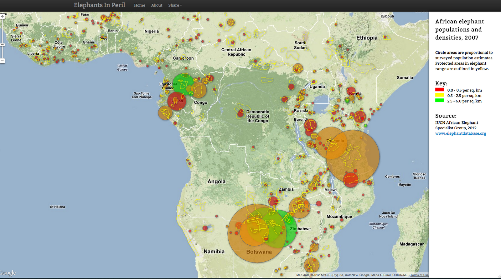 elephantsinperil org maps illegal killing of elephants and changes in population density across africa