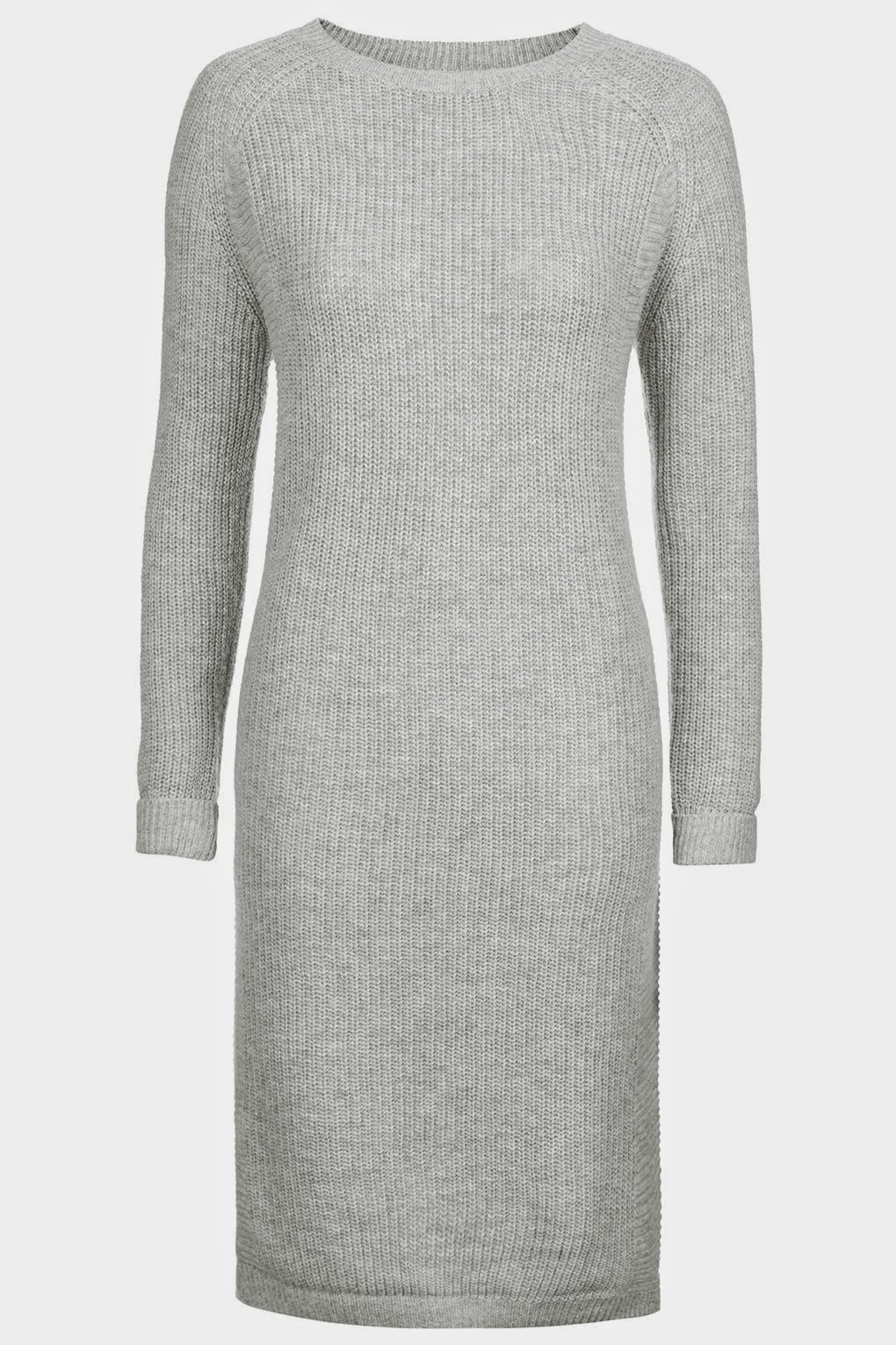 grey midi length wool dress