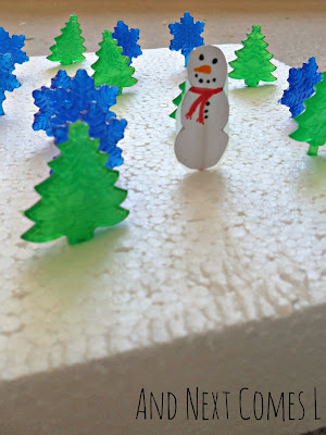 Homemade cardstock snowmen fine motor activity from And Next Comes L