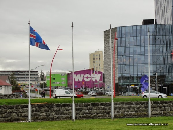view of purple WOW airline offices in Reykjavik, Iceland