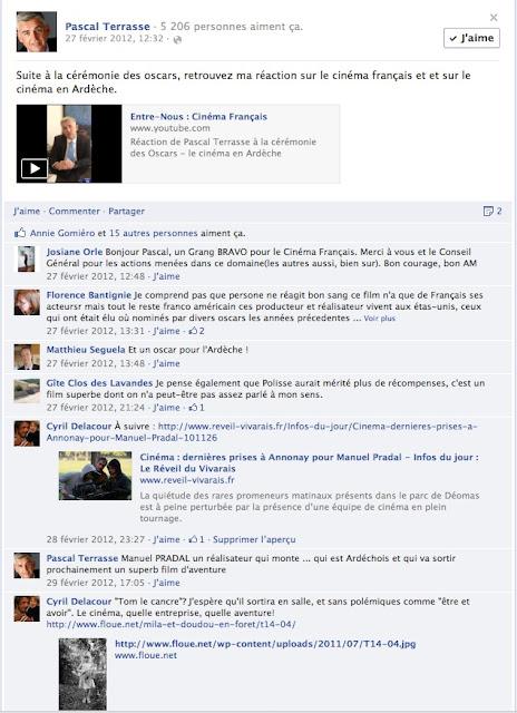 Page Facebook de Pascal Terrasse sur le cinéma