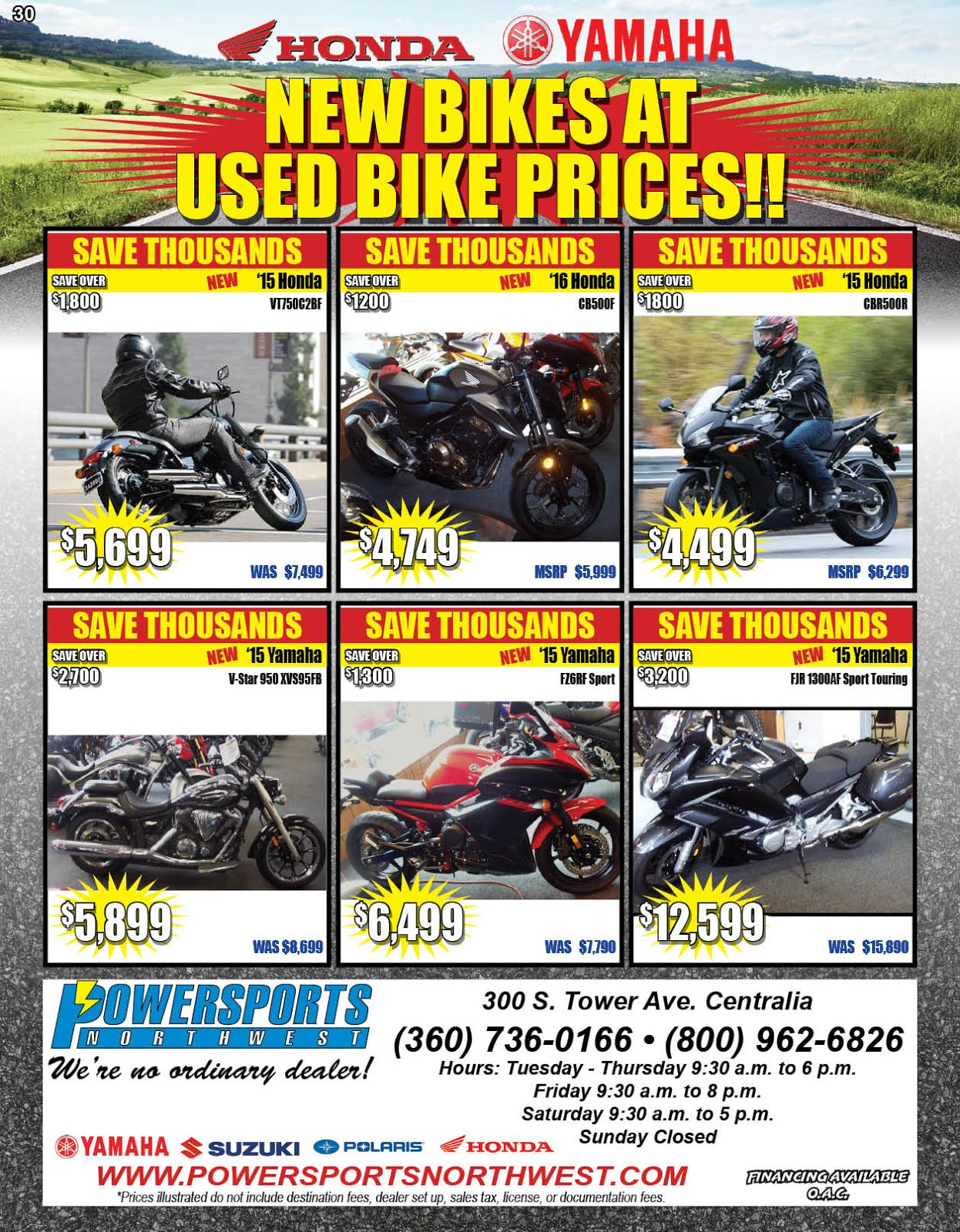 Powersports Northwest New Bikes @ Used Bike Prices!!