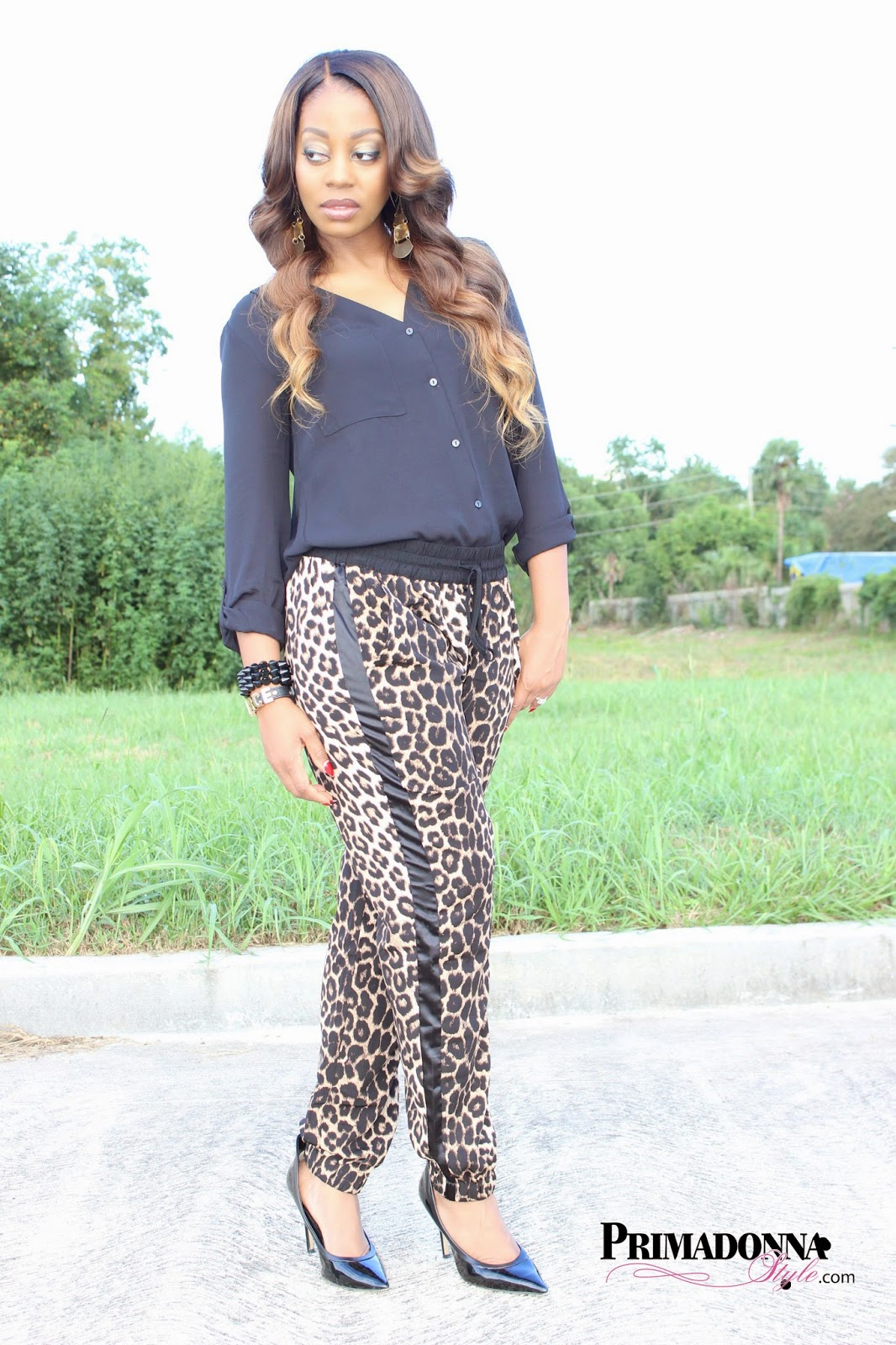 H&M V-Neck Blouse i jeans by Buffalo Leopard Soft Pants Rock & Republic Heels Spike Bracelet: Baubles & Bling by Cynthia BCBGeneration Fierce Affirmation Bracelet