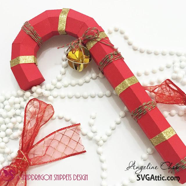 ScrappyScrappy: Christmas candy cane #svgattic #scrappyscrappy #christmas #santasrepose #candycane #ornament #svg #cutfile #diecut #twine #trendytwine #glitter #gold