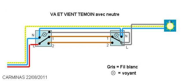 Schema electrique va et vient temoin avec neutre schema for Electricite va et vient schema