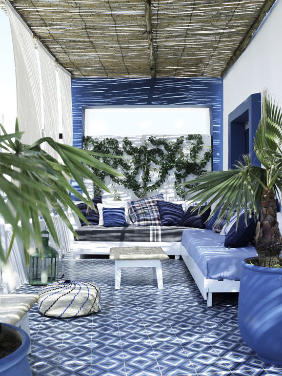 Blue and white terrace in Tangier.